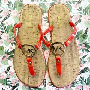 MICHAEL KORS Jelly Cork Orange Sandals Size 7